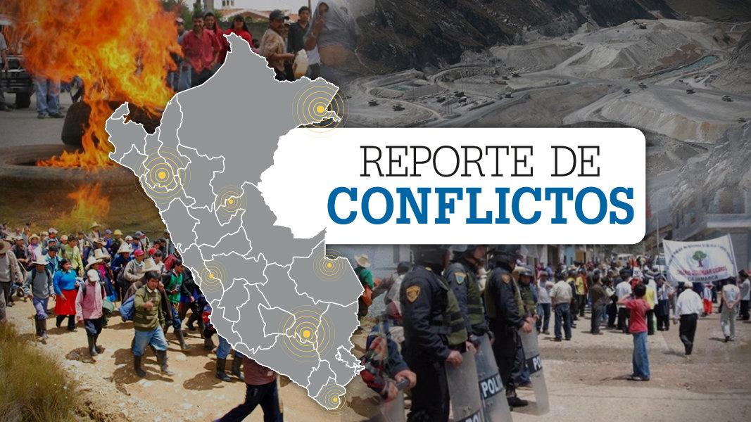 Mapa del Perú con las palabras Reporte de conflictos