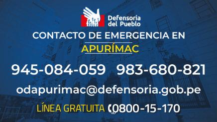 Defensoría del Pueblo: urge que municipios de Apurímac elaboren plan de contingencia ante temporada de lluvias