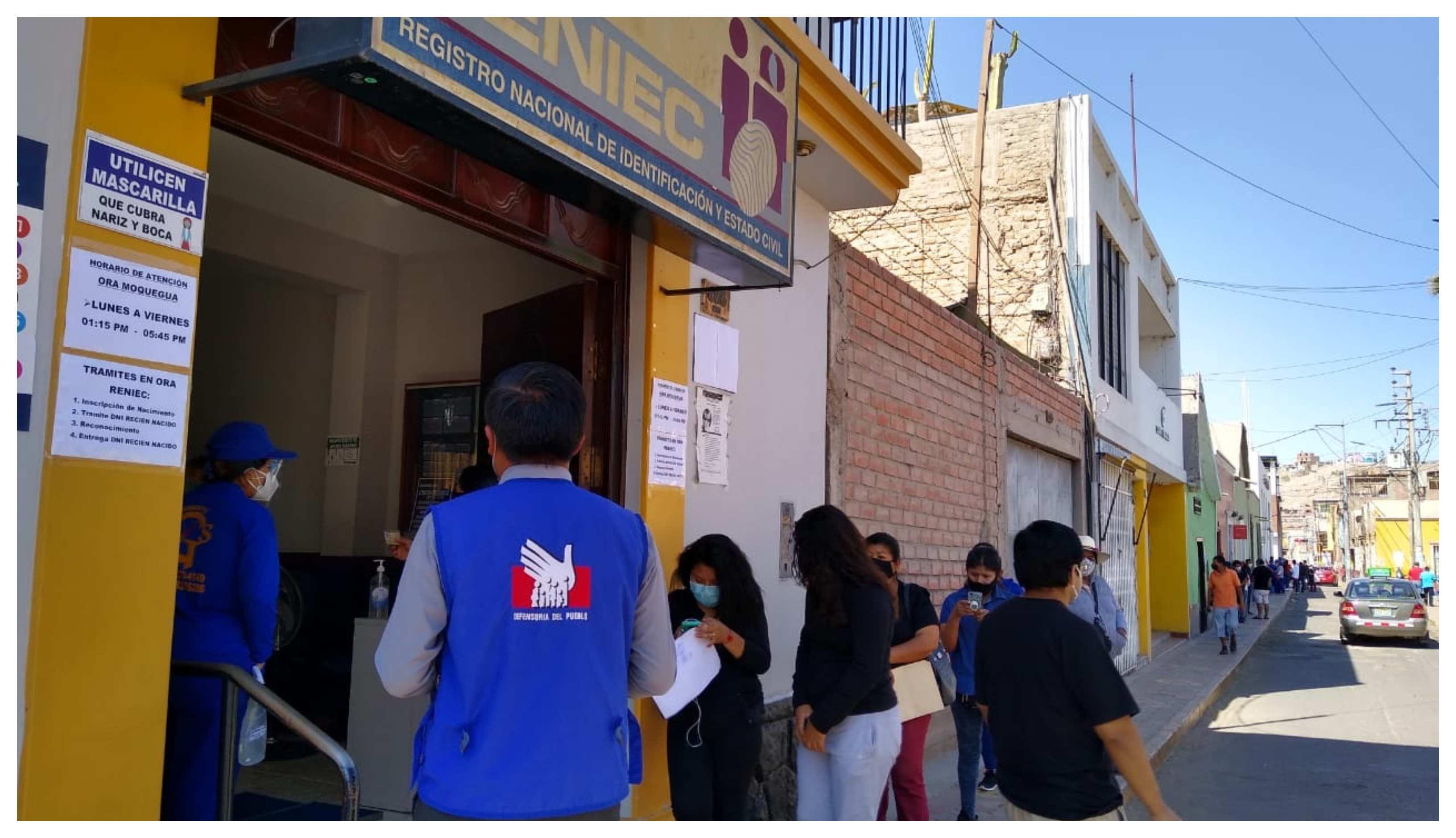 Defensoría del Pueblo verificó cumplimiento de protocolos sede del Reniec en Moquegua