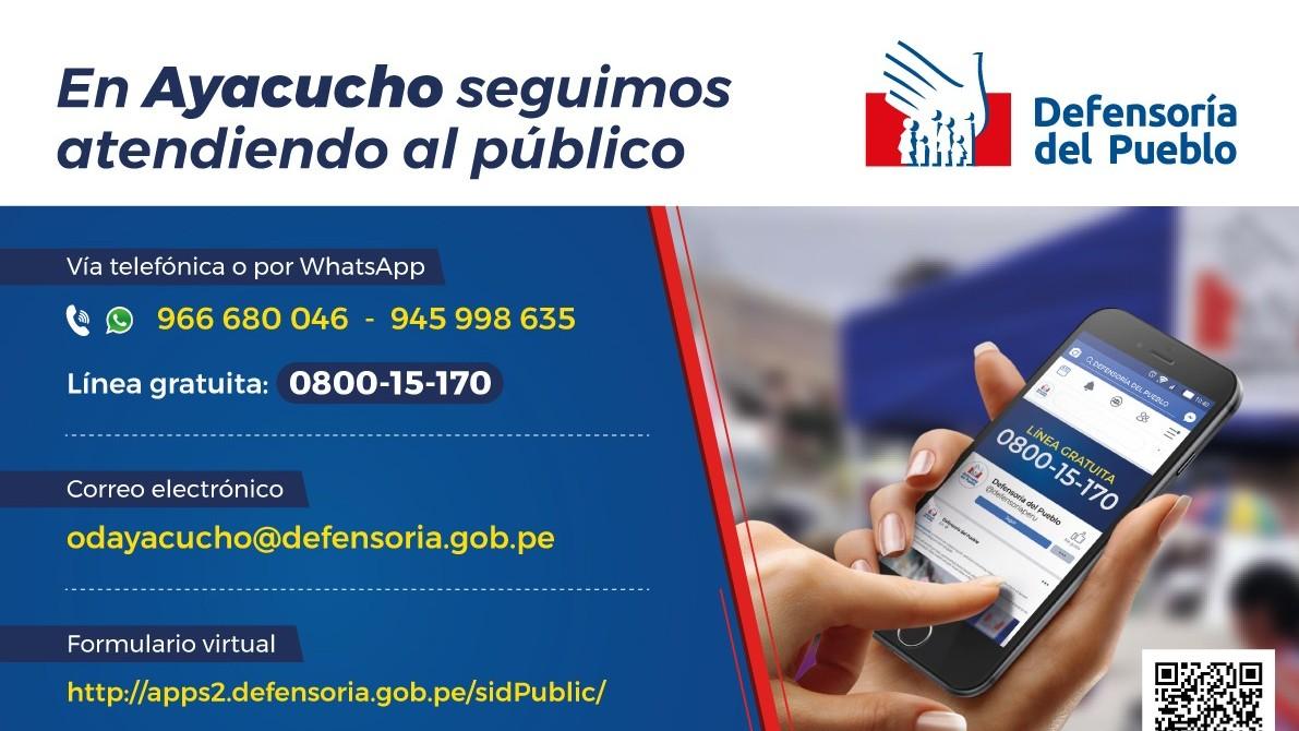 afiche canales de atencion de la oficina de Ayacucho