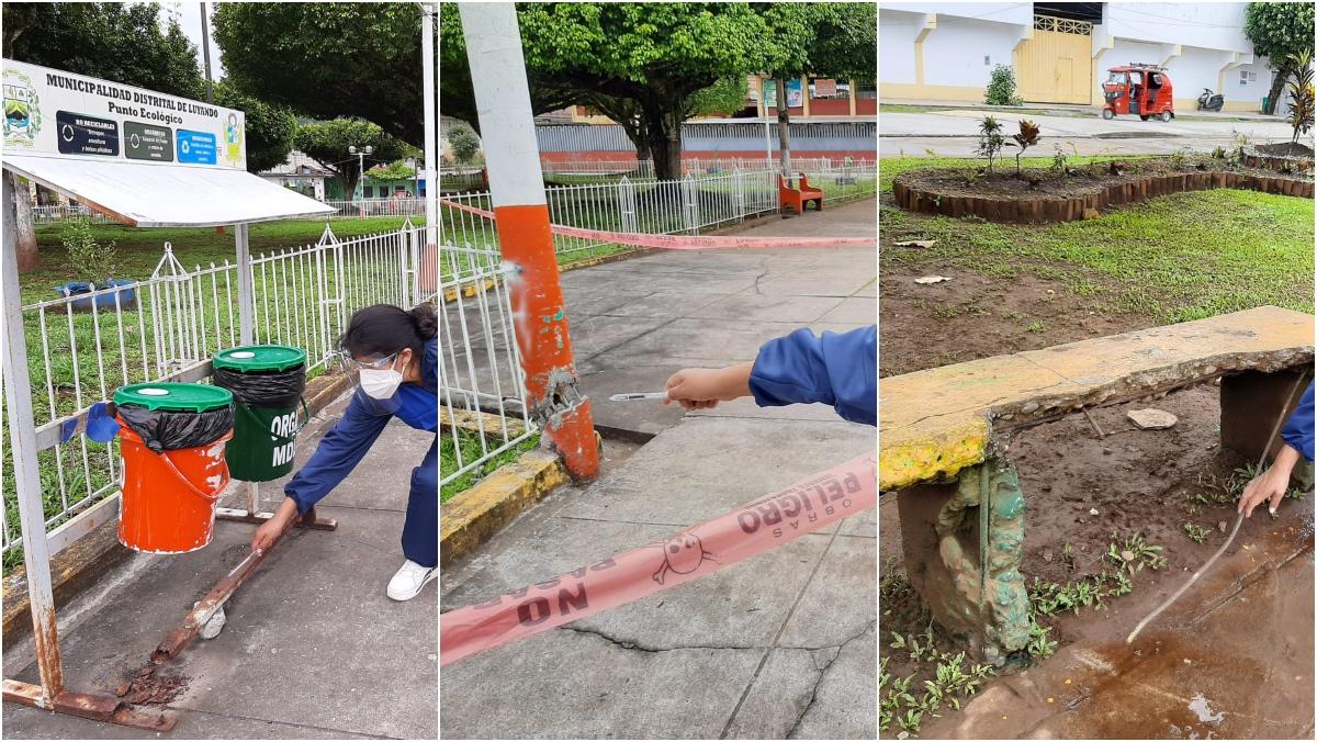 Collage de fotos de juegos infantes deterioradas