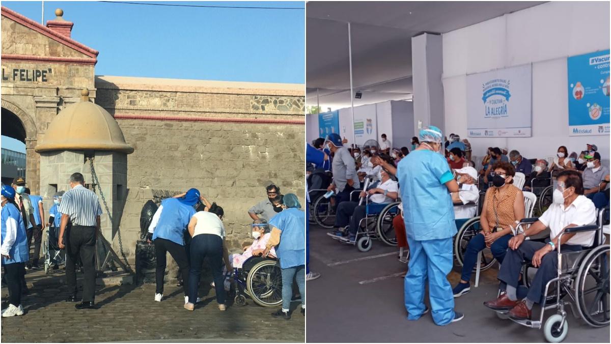 Collage de fotos de personas haciendo fila para ingresar a locales de vacunación
