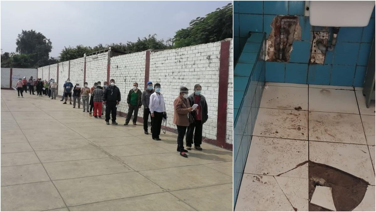 Collage de fotos de piso de daño deteriorado y fila de personas adultas mayores