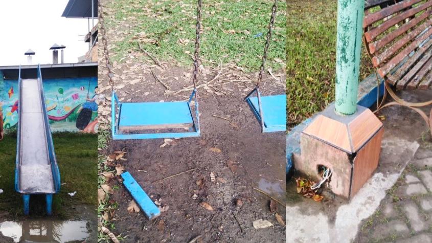Foto collage de juegos en parque
