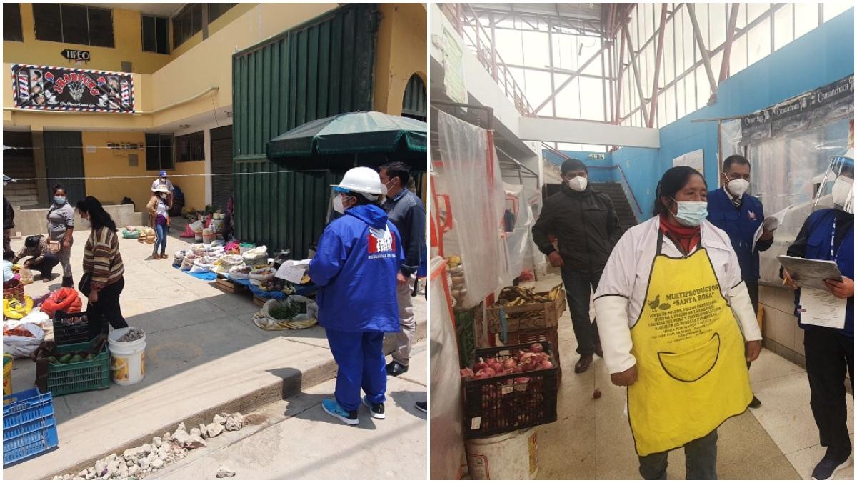Collage de fotos de supervisión en mercados