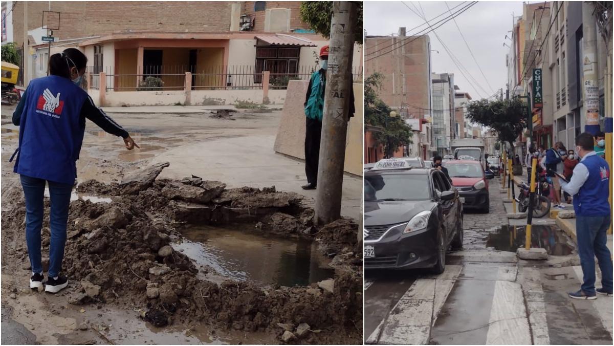 Foto de calles anegadas por desague