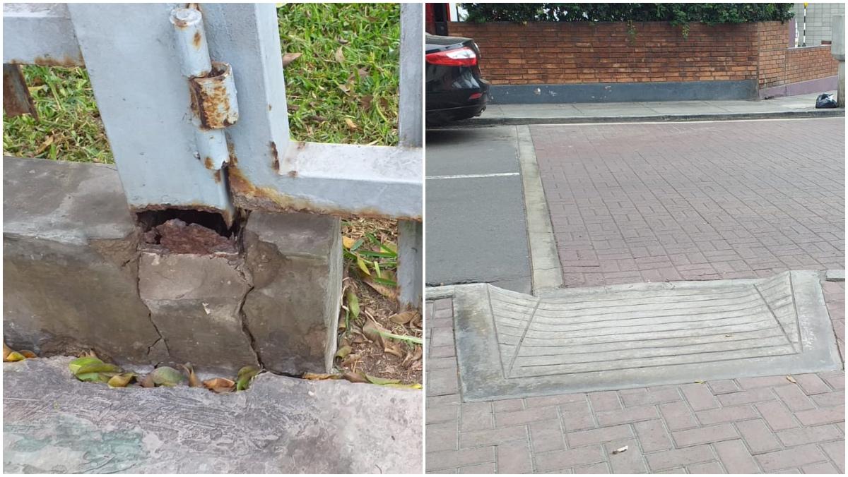 Foto de rampas mal instalada y rejas en mal estado